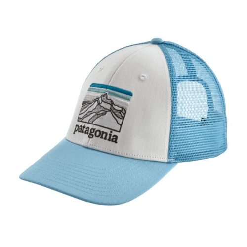 Patagonia Line Logo Ridge LoPro Trucker Hat White w/ Break Up Blue